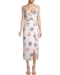 ABS By Allen Schwartz - Printed Cold-shoulder Midi Dress - Lyst