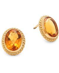 Saks Fifth Avenue - Citrine & 14k Yellow Gold Twist Gallery Post-back Stud Earrings - Lyst
