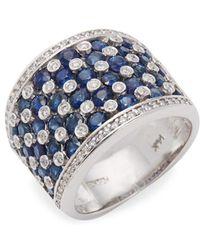 Effy - 14k White Gold, Blue Sapphire & White Diamond Ring - Lyst