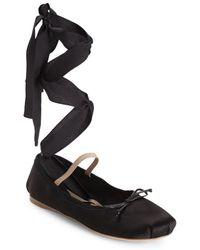 Miu Miu - Lace-up Satin Ballet Flats - Lyst