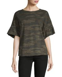 Sanctuary - Camo Print Ruffle Bell Sleeve Top - Lyst