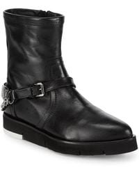 Love Moschino - St. Tod Point Toe Leather Booties - Lyst