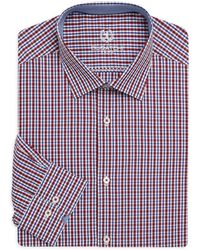 Bugatchi - Shaped-fit Chequered Cotton Dress Shirt - Lyst
