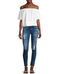 AG Jeans - Off-the-shoulder Striped Shirt Dress - Lyst