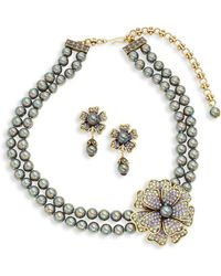 Heidi Daus - Floral Faux Pearl Necklace & Earring Set - Lyst