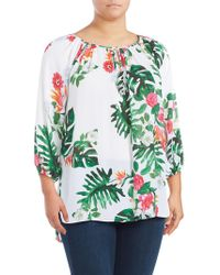Vince Camuto - Plus Printed Keyhole Top - Lyst