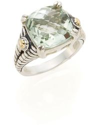 Effy - Green Amethyst, Sterling Silver & 18k Yellow Gold Square Ring - Lyst