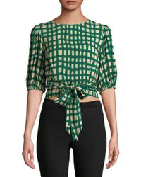 Plenty by Tracy Reese - Chequered Wrap Blouse - Lyst