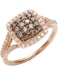 Effy - White Diamond, Brown Diamond And 14k Rose Gold Ring - Lyst