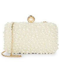 La Regale - Encrusted Faux Pearl Clutch - Lyst