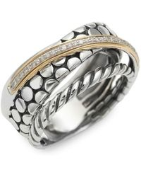 Effy - 14k Yellow Gold, Sterling Silver And Diamond Ring - Lyst