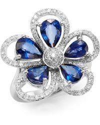 Effy - Final Call Sapphire, Diamond & 14k White Gold Flower Ring - Lyst