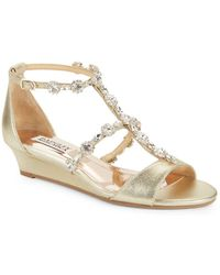 Badgley Mischka - Terry Ii Embellished Wedge Sandals - Lyst