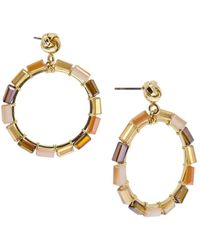 Saachi - Mosaic Circle Beaded Hoop Drop Earrings - Lyst