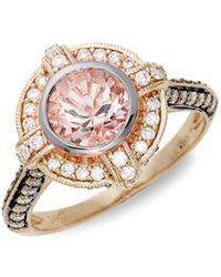 Le Vian - ® Peach Morganitetm And Chocolate & Vanilla Diamondstm 14k Strawberry Gold® Ring - Lyst