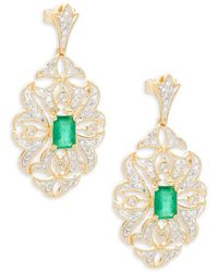 Effy - Diamond, Emerald & 14k Yellow Gold Statement Earrings - Lyst