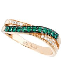 Le Vian - Vanilla Diamond, Emerald And 14k Strawberry Gold Ring - Lyst
