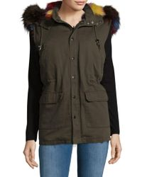 Annabelle New York - Fox Fur Cotton Hooded Vest - Lyst