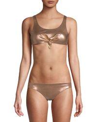 Dolce Vita - Knotted Cropped Bikini Top - Lyst