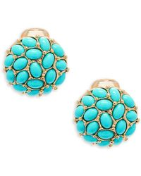 Kenneth Jay Lane - Turquoise Clip-on Button Earrings - Lyst