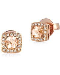 Le Vian - Diamond And Morganite Stud Earrings - Lyst
