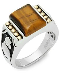 Effy - Crystal, Tigers-eye, 18k Gold And Sterling Silver Ring - Lyst