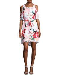 Donna Ricco - Belted Floral Cold Shoulder Dress - Lyst