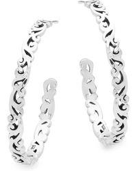 Lois Hill - Sterling Silver Cutout Hoop Earrings - Lyst