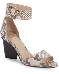 Vince Camuto - Driton Embossed Leather Ankle-strap Sandals - Lyst