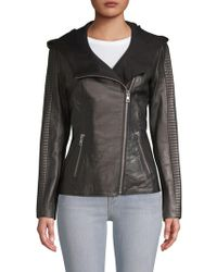 SOIA & KYO - Hooded Leather Jacket - Lyst