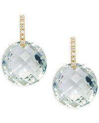 Suzanne Kalan - Diamond Green Amethyst 18k Yellow Gold Drop Earrings - Lyst