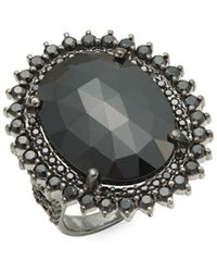 Bavna - Black Spinel And Sterling Silver Faceted Cocktail Ring - Lyst