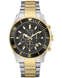Bulova - Black Dial Two-tone Stainless Steel Chronograph - Lyst