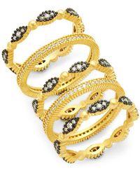 Freida Rothman - Set Of Five Crystal Fleur Bloom Stackable Rings - Lyst