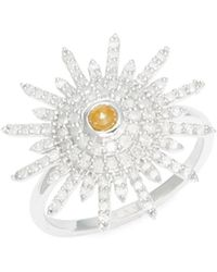 Artisan - White & Brown Diamond 14k White Gold Starburst Diamond Ring - Lyst