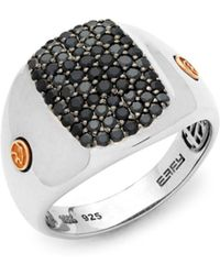 Effy - Black Sapphire, 18k Rose Gold And Sterling Silver Ring - Lyst