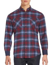 James Campbell - Plato Plaid Point Collar Shirt - Lyst