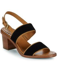 Frye - Brielle Overlay Suede And Leather Slingback Sandals - Lyst