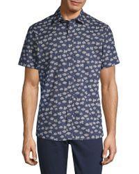 Slate & Stone - Lotus-print Short-sleeve Cotton Button-down Shirt - Lyst