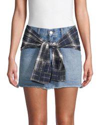Lea & Viola - Plaid Wrap Denim Skirt - Lyst