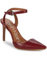 Calvin Klein - Raffaela Leather Ankle-strap Pumps - Lyst