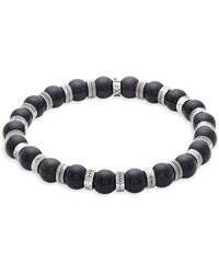 Perepaix - Stainless Steel & Obsidian Beaded Bracelet - Lyst