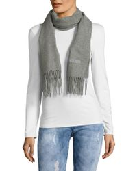29b6211bf6 Moschino Olive Oil Embroidery Wool Scarf in Natural - Lyst