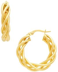 Saks Fifth Avenue - 14k Yellow Gold Twisted Hoop Earrings - Lyst