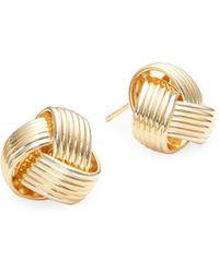 Saks Fifth Avenue - 14k Yellow Gold Knot Stud Earrings - Lyst