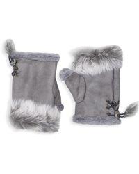 Adrienne Landau - Dyed Rabbit Fur-trim Fingerless Gloves - Lyst