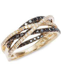 Effy - Diamond And Black Diamond, 14k Gold And 14k White Gold Ring - Lyst