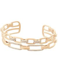Michael Kors - Brilliance Crystal And Stainless Steel Iconic Links Open Cuff Bracelet - Lyst