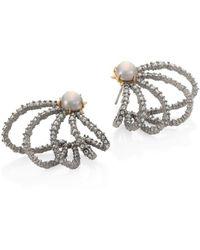 Alexis Bittar - Crystal & Faux-pearl Orbiting Stud Earrings - Lyst