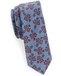 Joe's Collection - Floral-print Slim Cotton Tie - Lyst